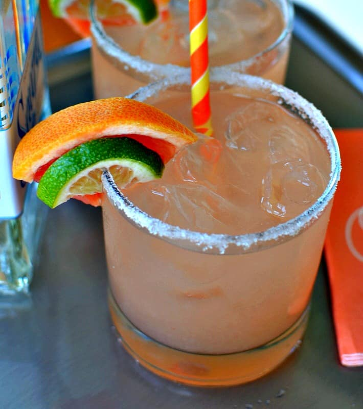 Grapefruit margaritas are a combination of fresh grapefruit juice, fresh lime juice, tequila and triple sec.