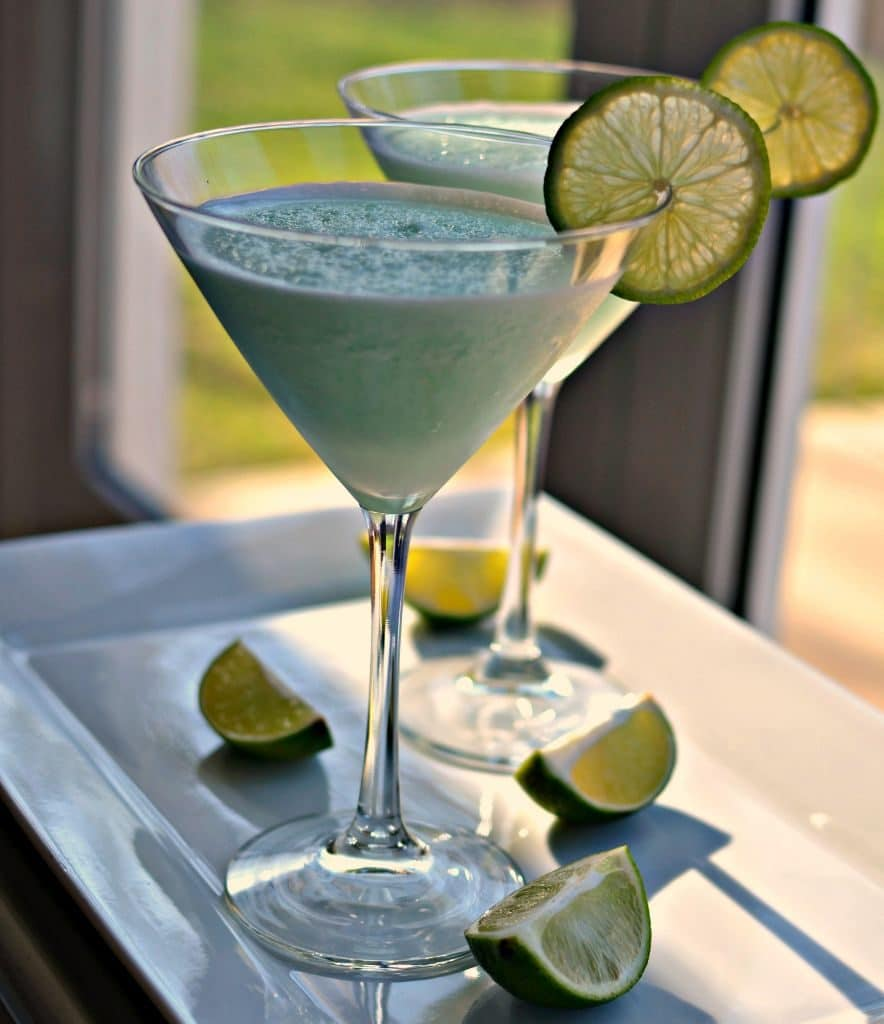 This blended key lime martini is a creamy, tangy cocktail that tastes like key lime pie in a glass