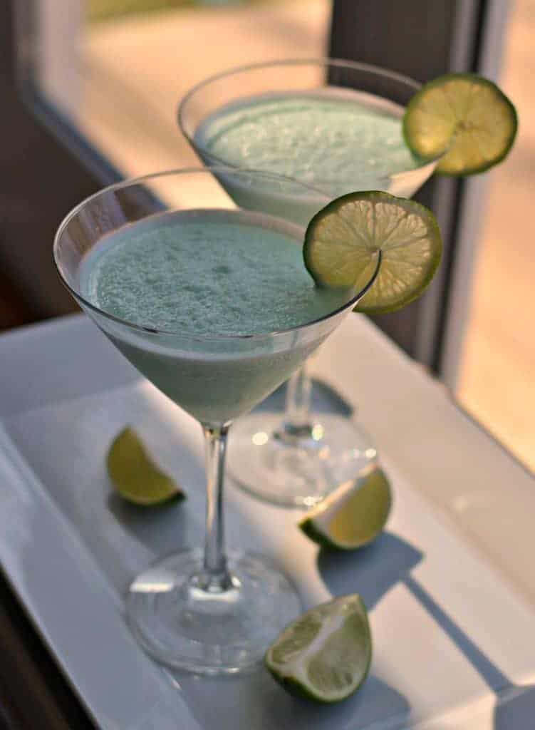 This sweet and tangy blended key lime martini is a refreshing cocktail for summer parties
