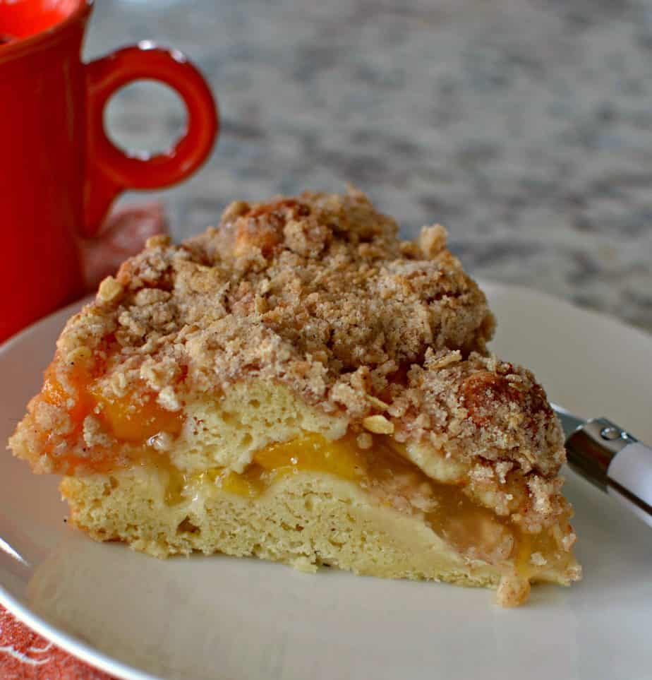 This Peach Coffee Cake is a family favorite and I love to serve it for brunch and holidays.