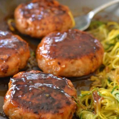 Turkey Patties with Zoodles in Chili Lime Sauce