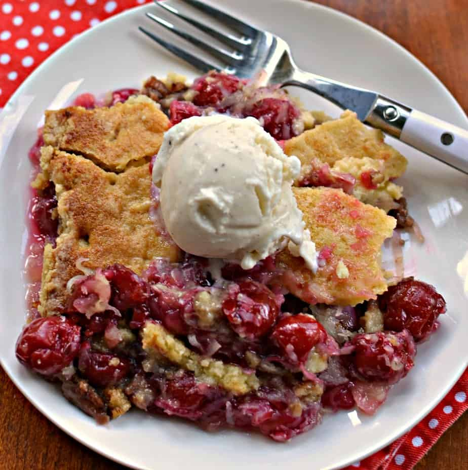 This easy to make Cherry Dump Cake will remind you of your Grandma's cobbler.
