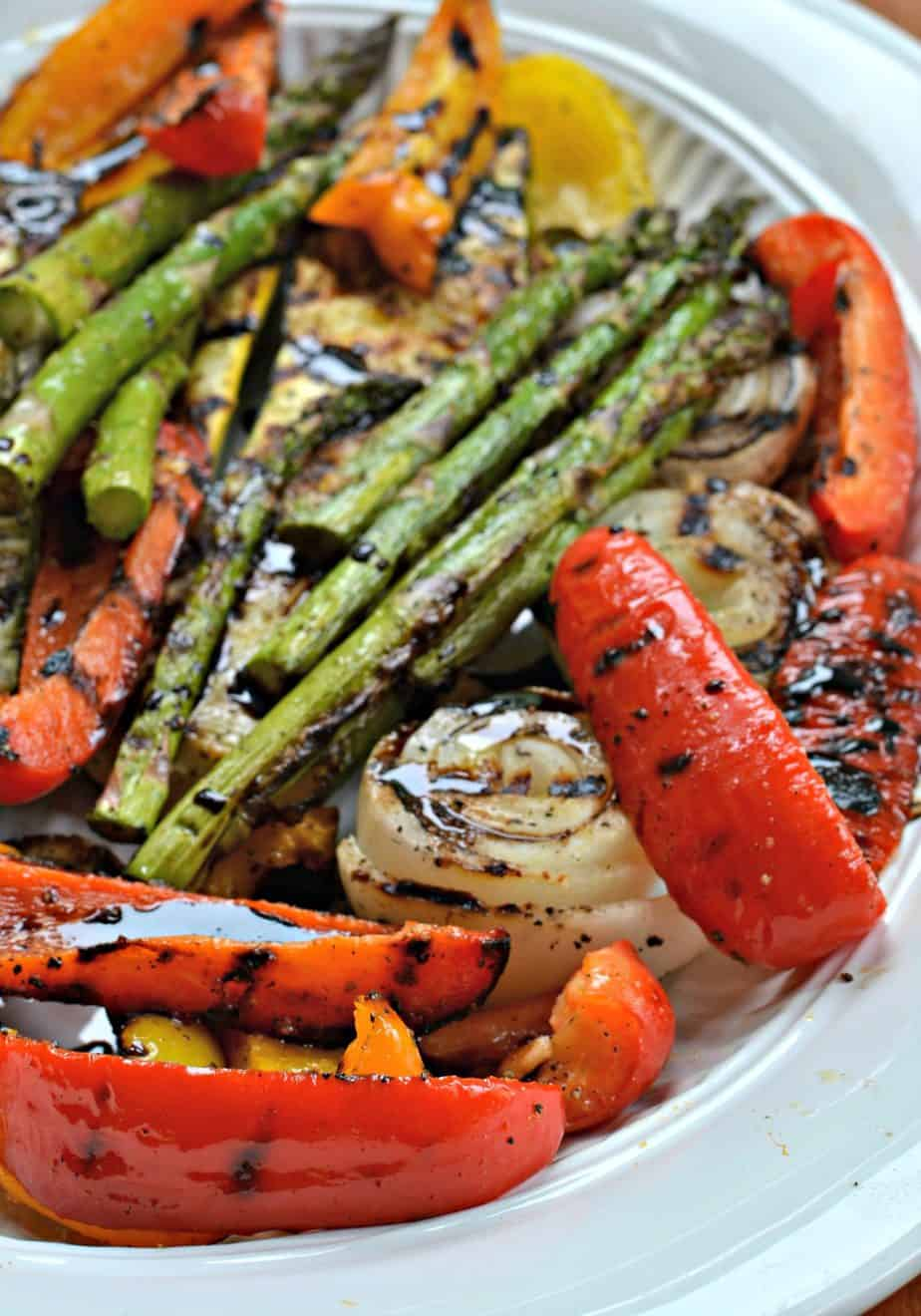 A fun and easy grilled vegetable recipe with a simple balsamic reduction sauce.