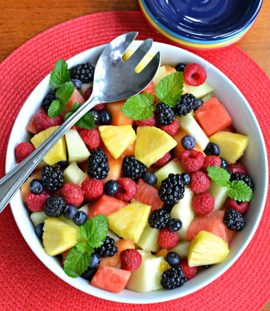 This Summer Fruit Salad is drizzled with lightly sweetened orange lime juice.