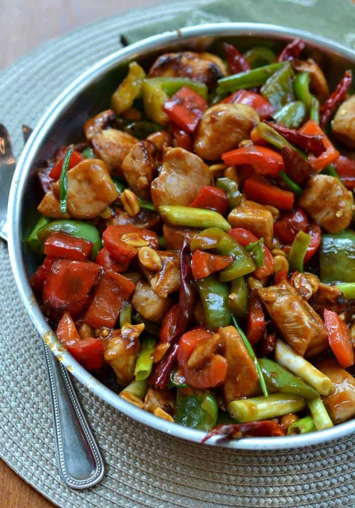 One Skillet Kung Pao Chicken is a sweet, slightly spicy stir fry dish that's packed with chicken and vegetables.