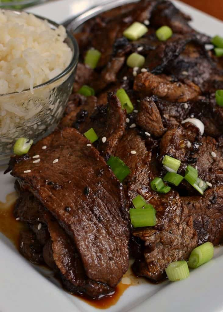 Flavor Packed Beef Bulgogi is a delicious dish served with rice.