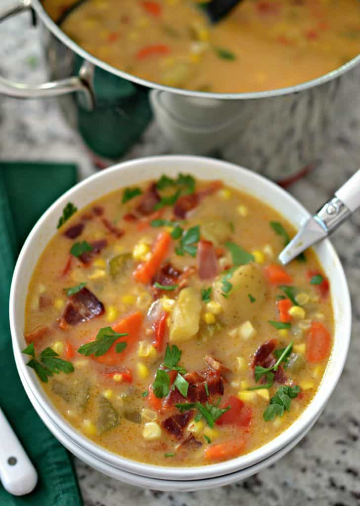 Potato Corn Chowder is a hearty soup with a creamy stock and packed with tender vegetables