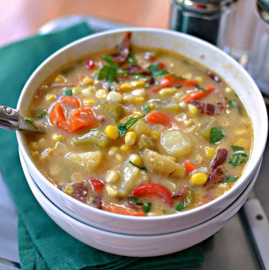This Corn Chowder Recipe is packed with delicious vegetables and tender corn