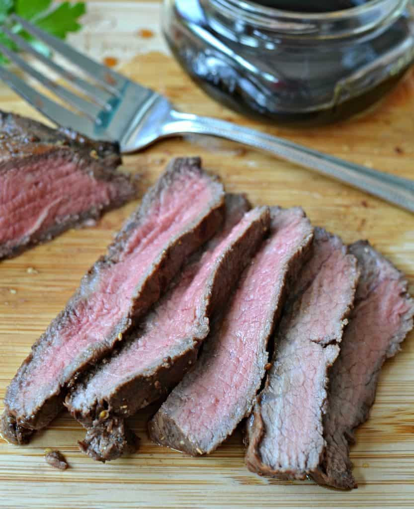 Marinated Grilled Flank Steak is perfectly served with baked potatoes, with steak tacos, or with a salad