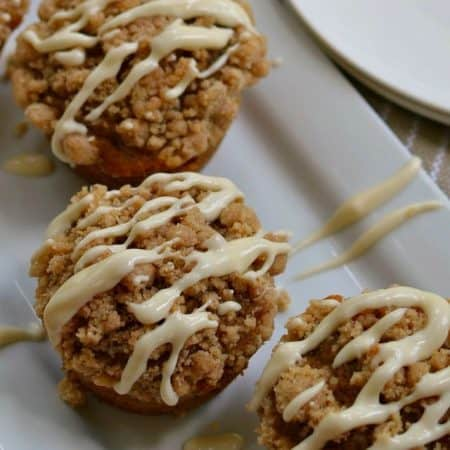 Pumpkin Muffin Recipe with Crumb Topping and Cream Cheese Drizzle