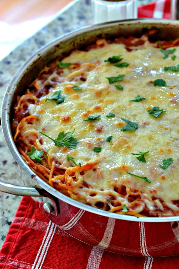 This easy Baked Spaghetti Recipe makes dinner extra simple!