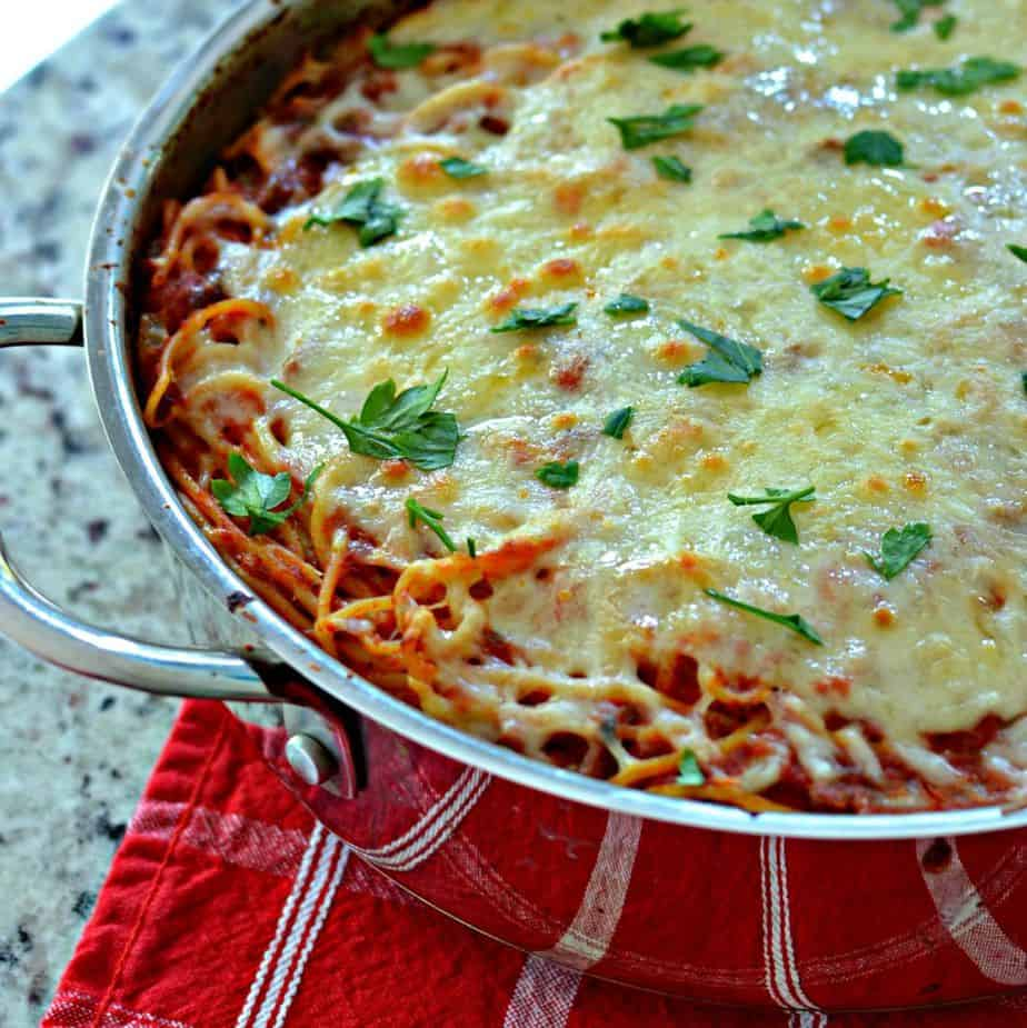 Topped with rich, melted mozzarella cheese, this easy baked spaghetti recipe is the perfect pasta dish.