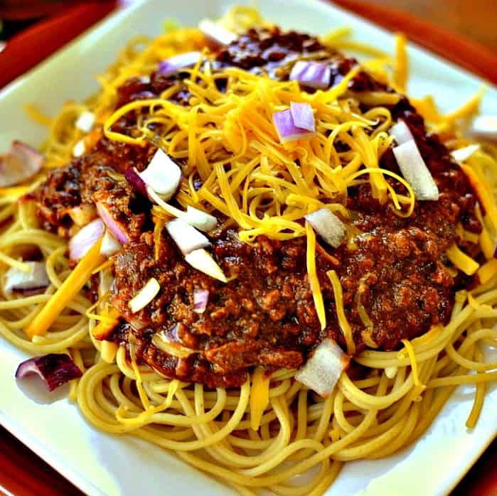Cincinnati Chili is a unique taste combining ground beef, chili powder, cocoa powder, cinnamon, cloves and allspice.