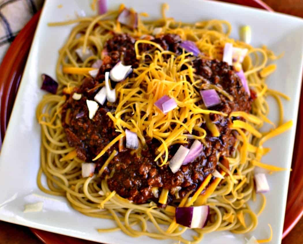 Cincinnati Chili is one of those dishes that tastes even better the next day as the flavors have all had time to meld.