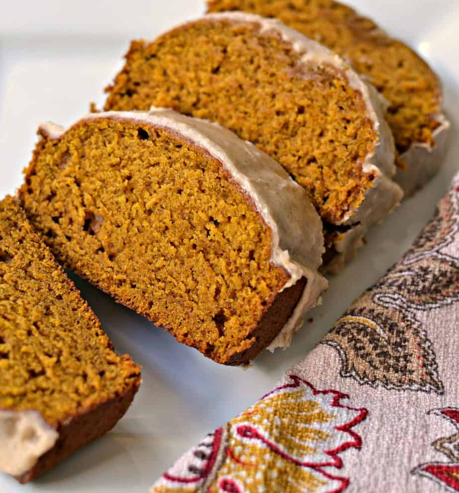 This moist Pumpkin Bread Recipe is covered with a sweet cinnamon glaze.