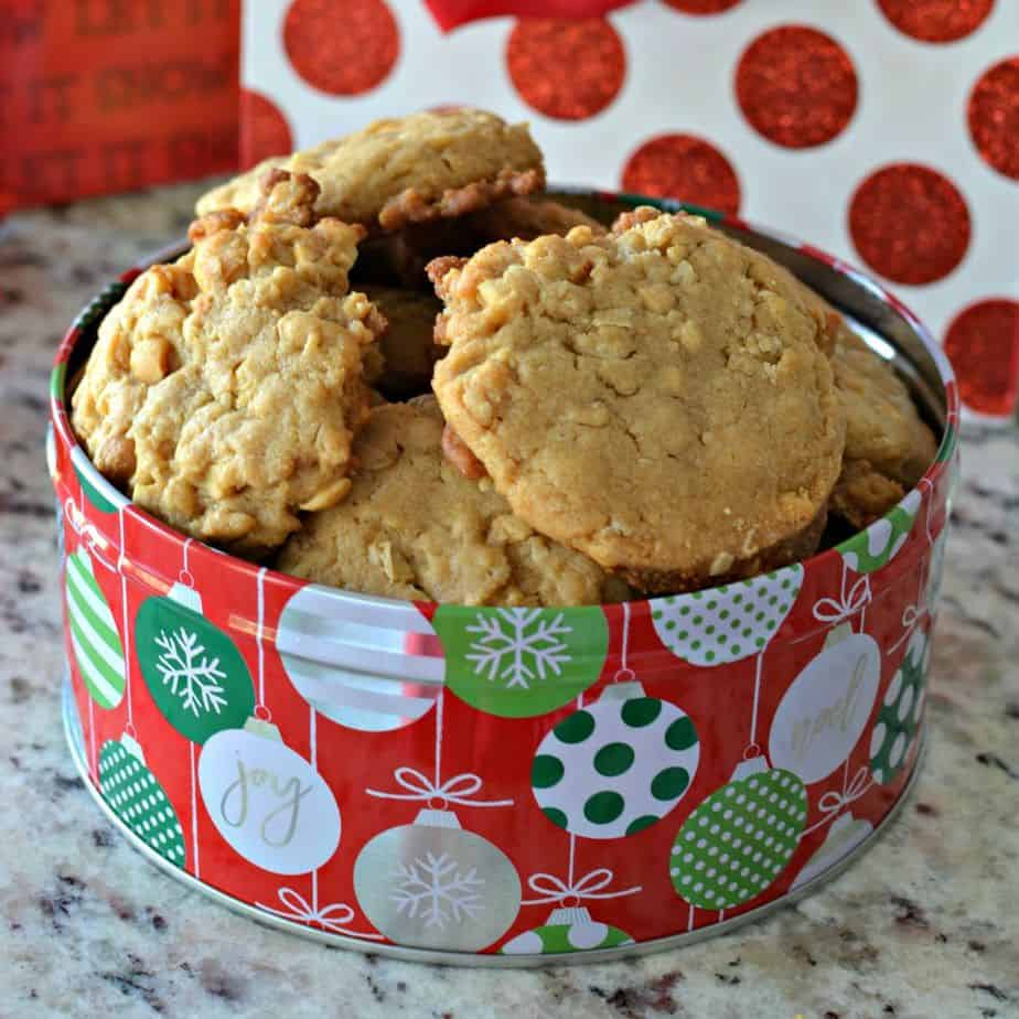 Soft and sweet peanut butter oatmeal cookies are perfect for the holidays