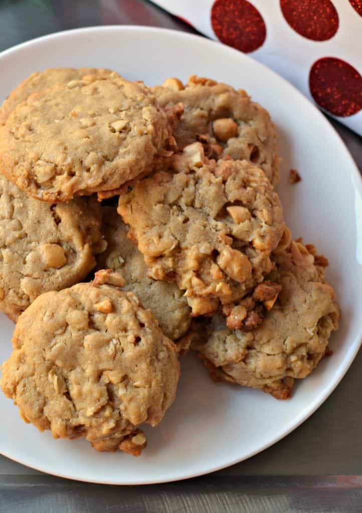 These easy peanut butter oatmeal cookies are soft and gooey on the inside, with chunks of peanuts in every bite