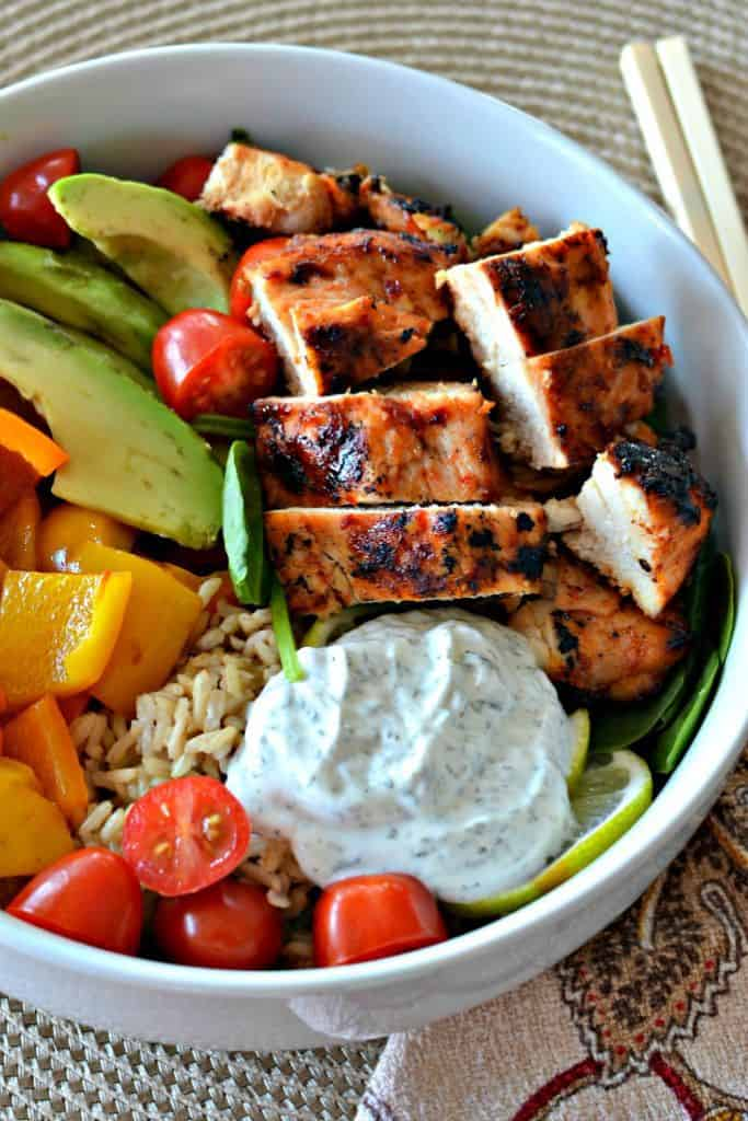 Buddha Bowl With Chicken And Peppers Super Healthy And Tasty