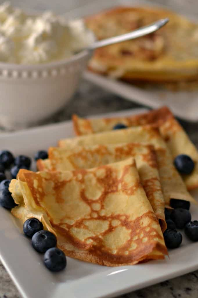 An easy crepe batter with six ingredients made in the blender in less than five minutes.