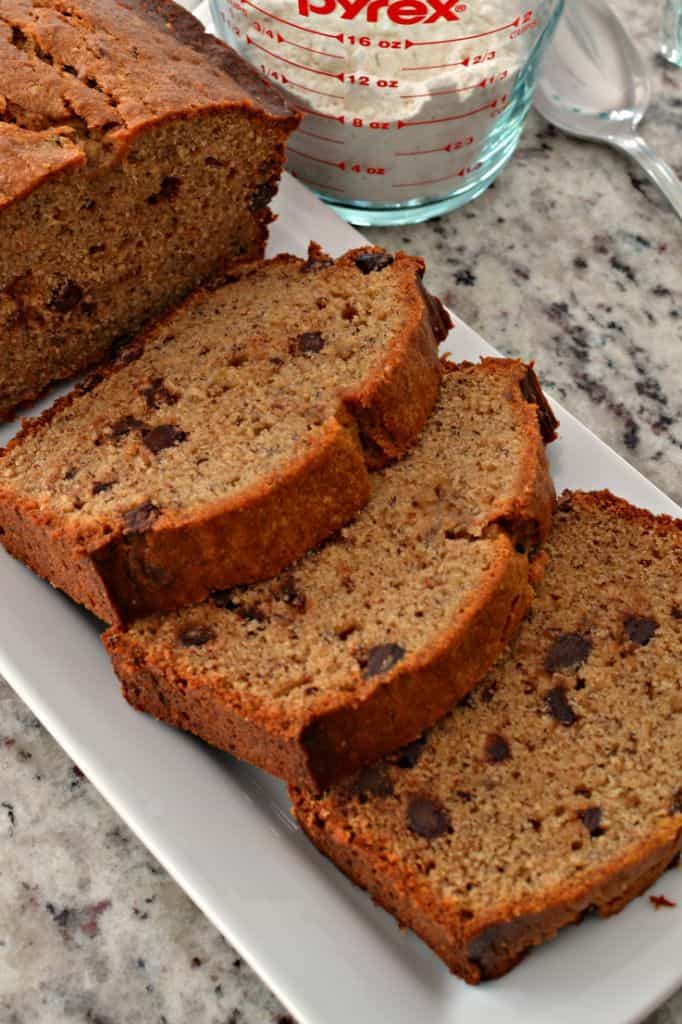 Deliciously moist peanut butter banana bread sprinkled with chocolate chips