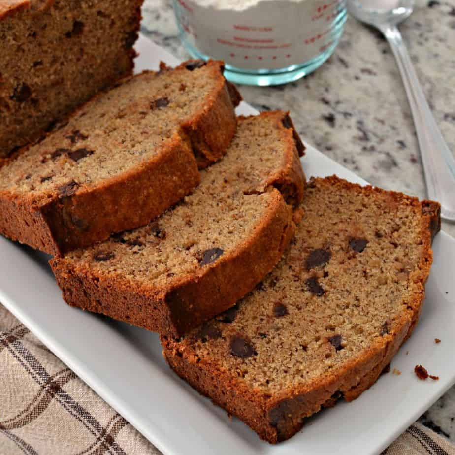 Delicious, moist peanut butter banana bread can be kicked up a notch with chocolate chips, walnuts, or pecans added!