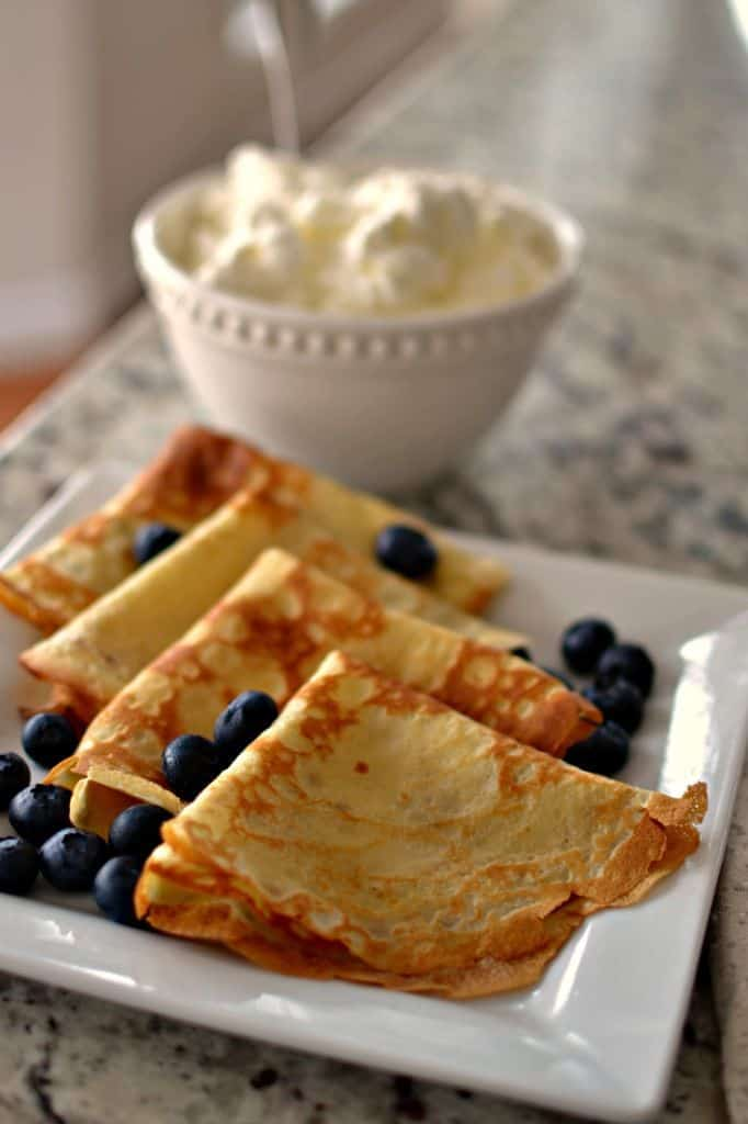 For a delicious dessert serve these crepes with fresh berries and whipped cream.