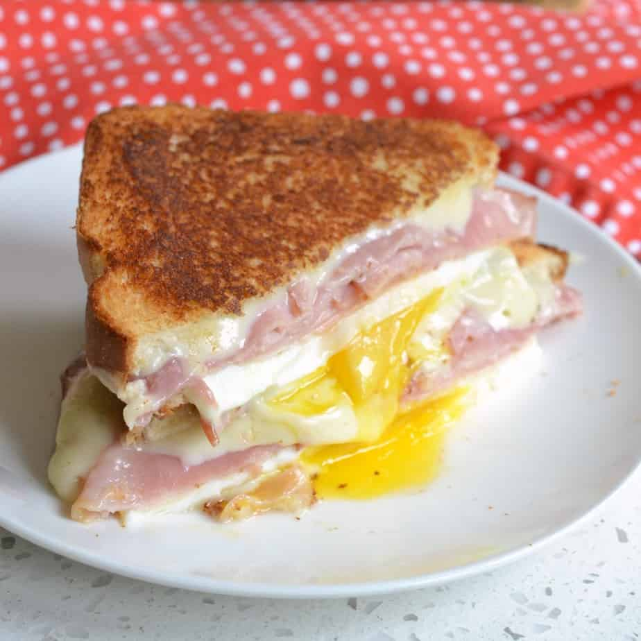 This super easy and quick fried egg, cheese and ham sandwich comes together in less than seven minutes.
