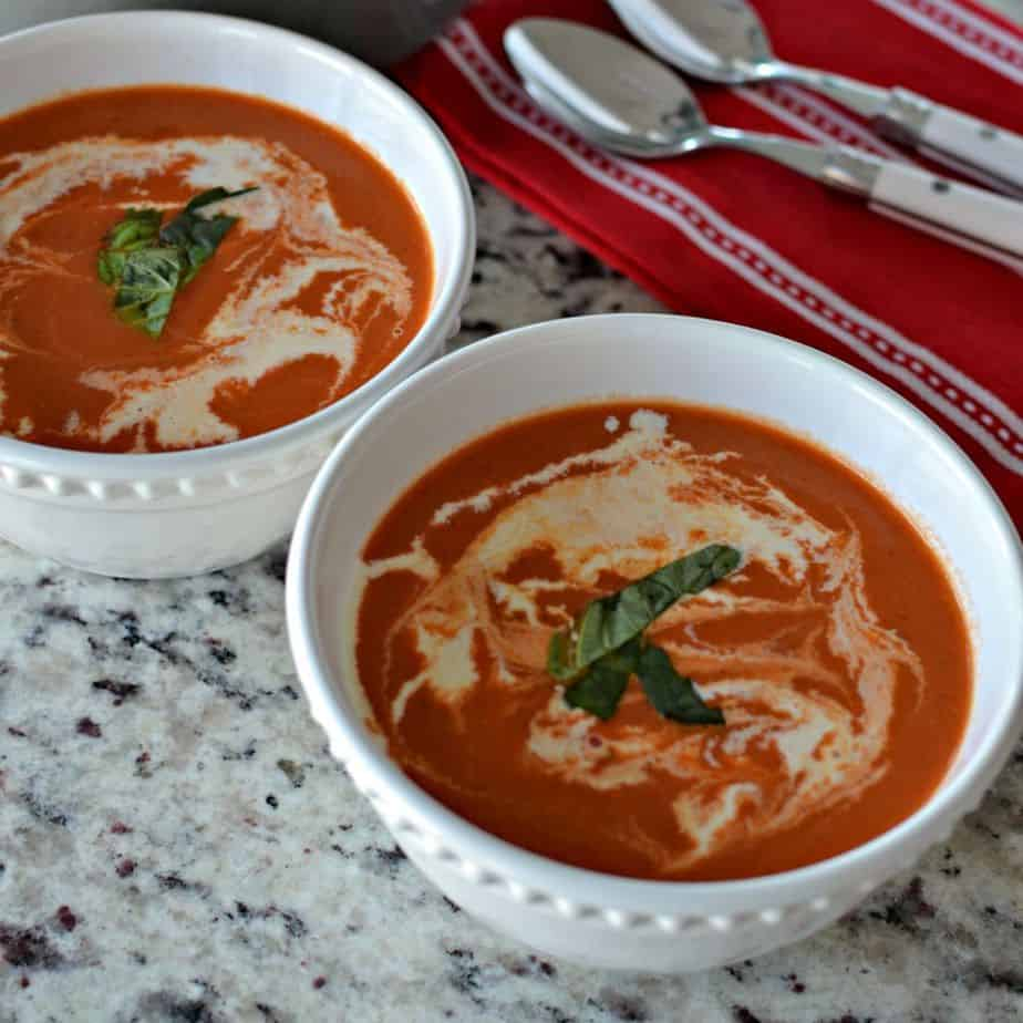Rich and creamy homemade tomato bisque soup is a perfect cold weather comfort meal