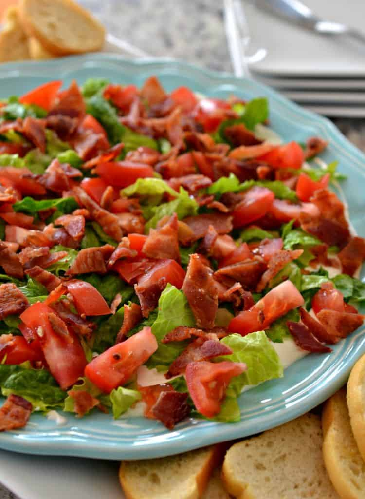 BLT Dip is layers of crisp bacon, lettuce, and tomatoes over a creamy base