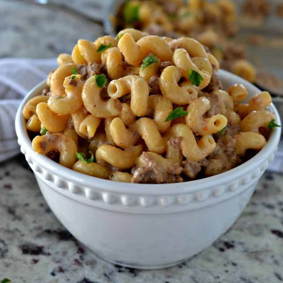 Serve this deliciously creamy One-Skillet Cheesy Homemade Hamburger Helper for an easy weeknight dinner