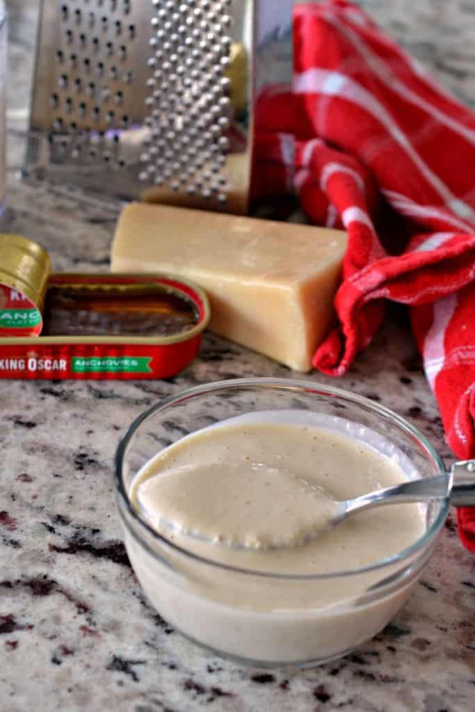 Chicken Caesar Salad dressing is best homemade and don't forget the anchovies!