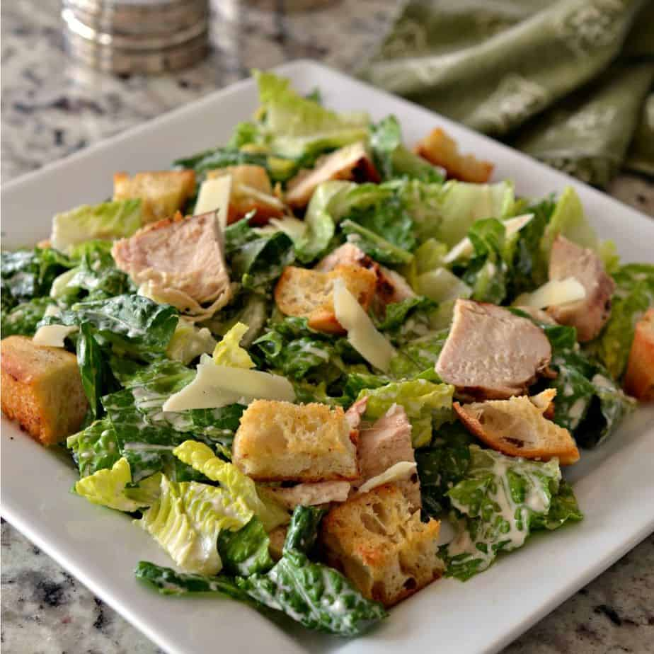 Prep all the aspects of this Chicken Caesar Salad Recipe ahead of time for an easy to assemble, light lunch