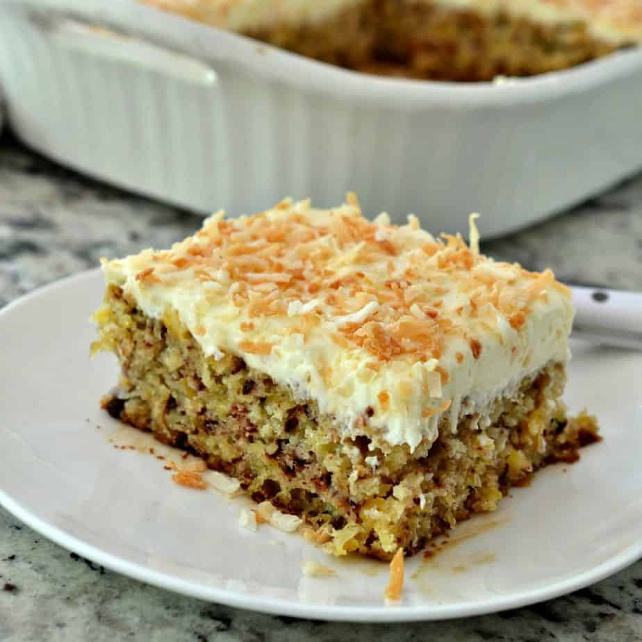 This moist delectable cake has an easy cream cheese frosting that has been flavored with pineapple juice and topped with toasted coconut.