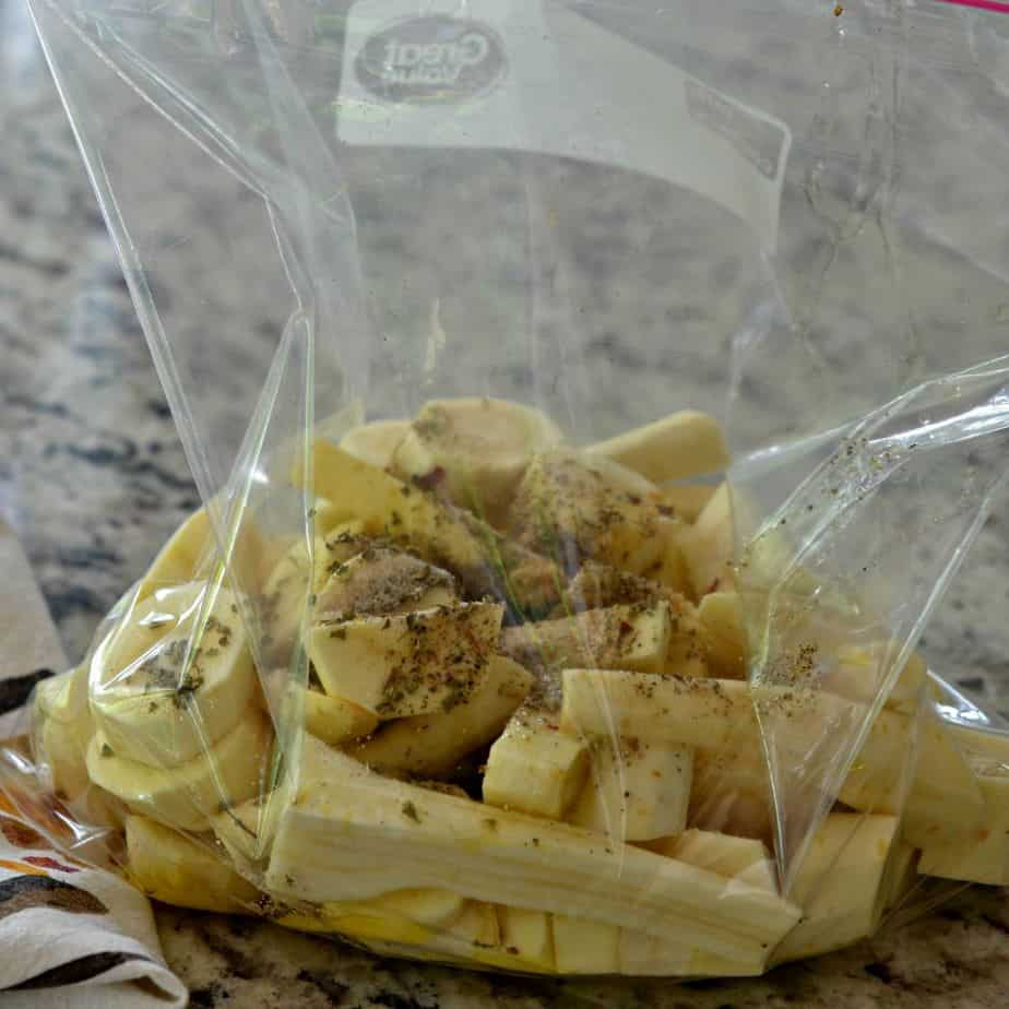 Prepare raw parsnips in a plastic bag with all seasonings and herbs