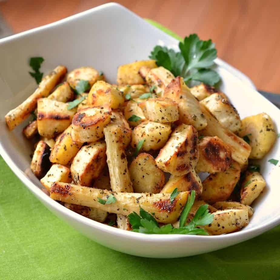 Tender roasted parsnips are perfectly seasoned and roasted to a crisp golden brown