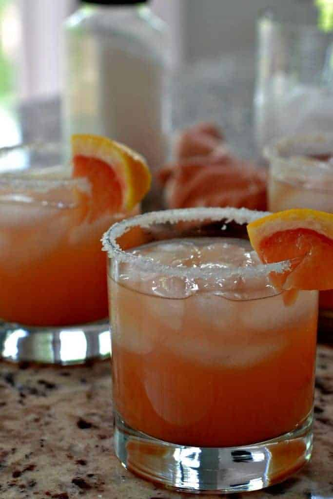 A Salty Dog Cocktail is tart and sweet, topped with a slice of grapefruit