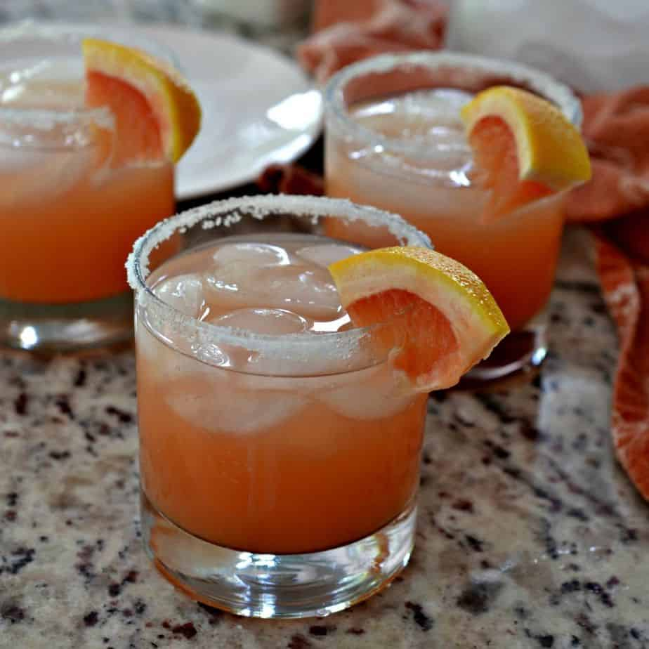 A Salty Dog Cocktail is simply grapefruit juice and vodka served in a salt-rimmed glass