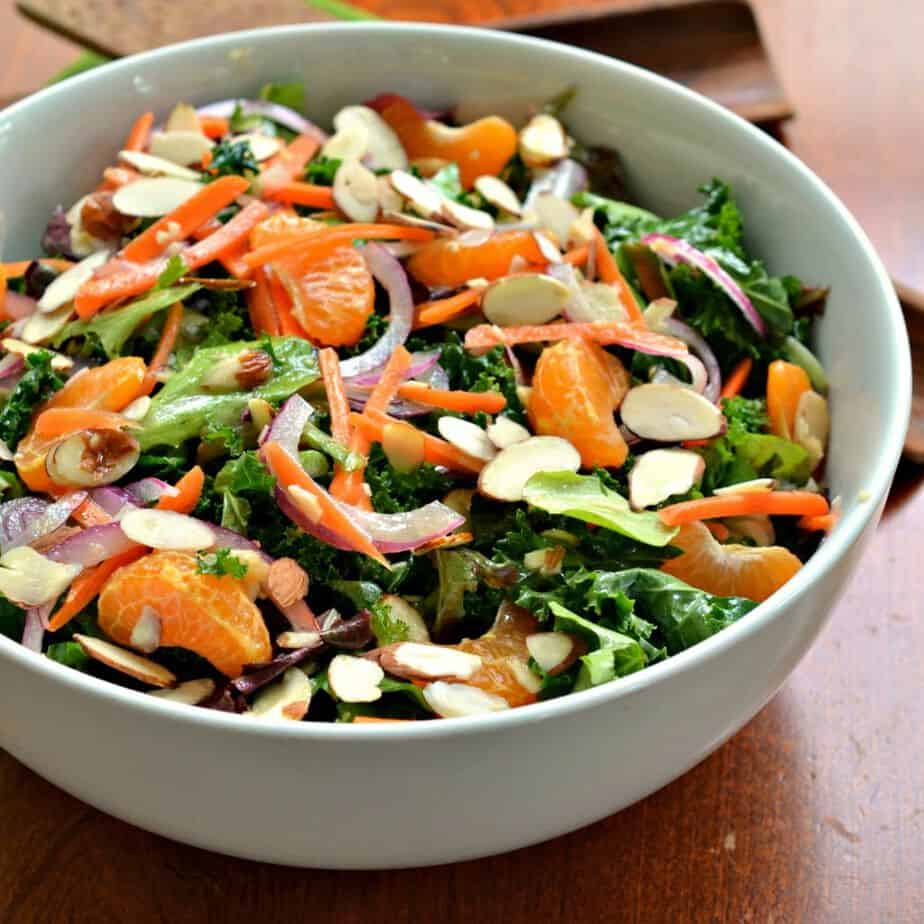 This Asian-inspired Kale Salad with Ginger Vinaigrette is a refreshing, healthy lunch