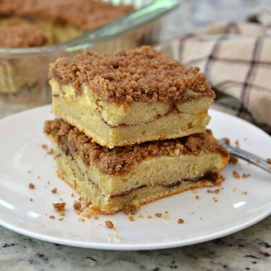 This cinnamon coffee cake is topped with a sweet streusel topping and sweet cream cheese filling