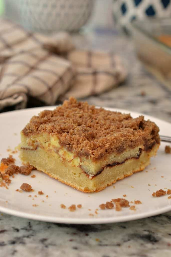 This cinnamon coffee cake had layers of sweet, buttery cake, cream cheese, cinnamon, and a delicious streusel topping