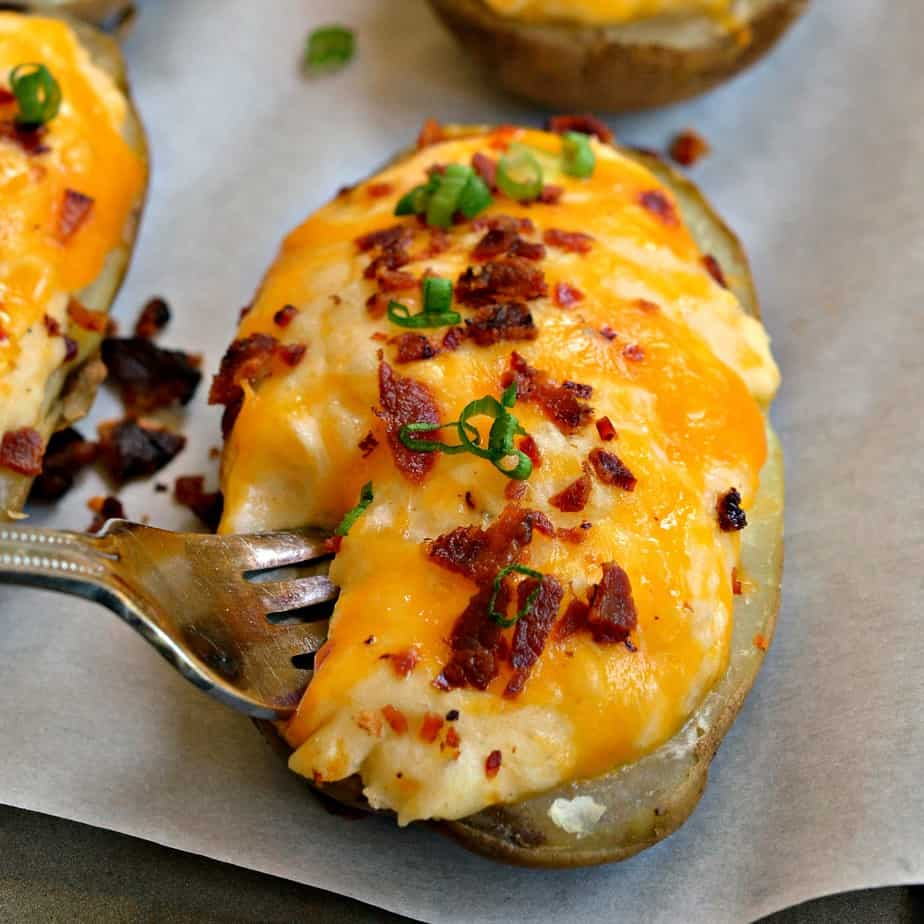 These easy Twice Baked Potatoes are the perfect side for steak, pork, fish and chicken.