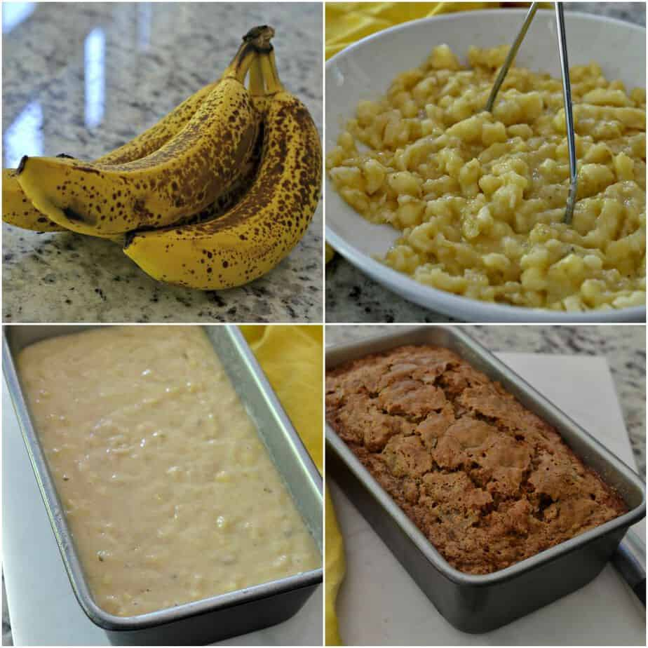 Make this delicious and easy banana bread recipe in just a few steps! From over ripe bananas to sweet, moist bread