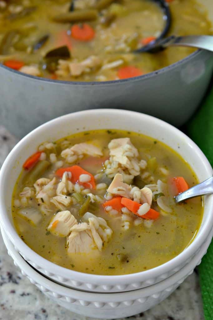 This Chicken Barley Soup Recipe is a great way to warm up on a cold winter night.