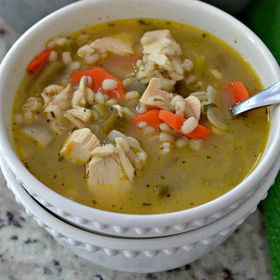 Homemade Chicken Barley soup is a hearty, easy recipe that's quick to make for an easy dinner