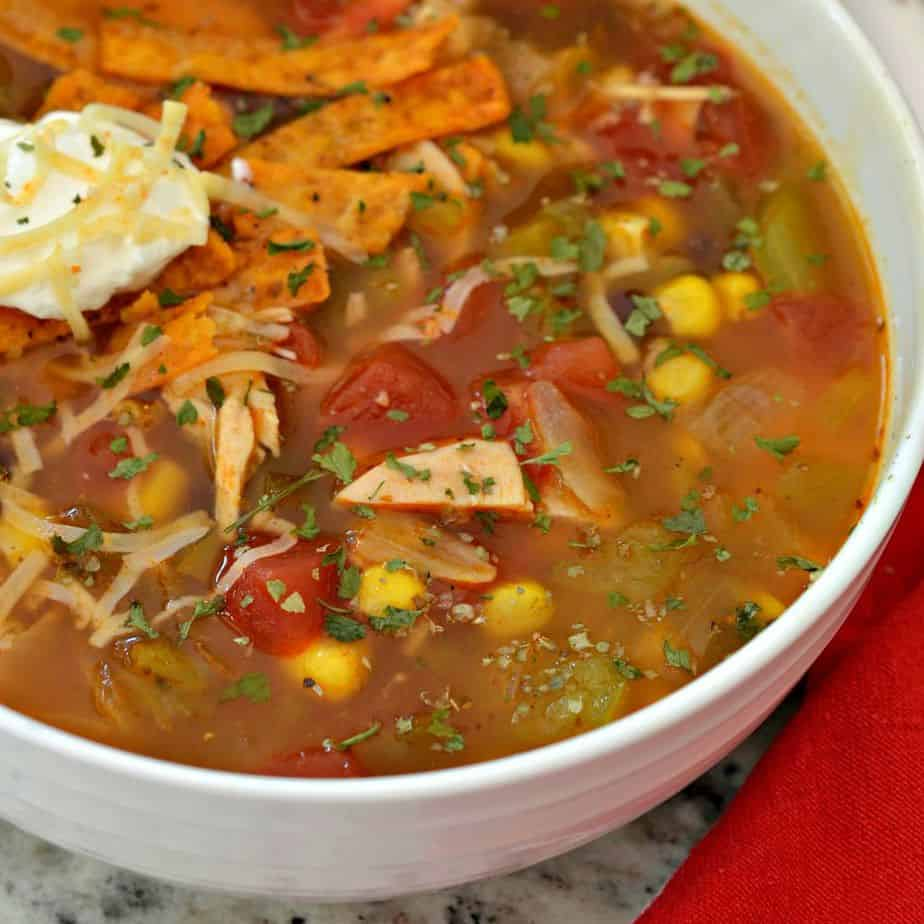 Chicken Enchilada Soup is hearty and flavorful, perfect for a cold Fall evening meal
