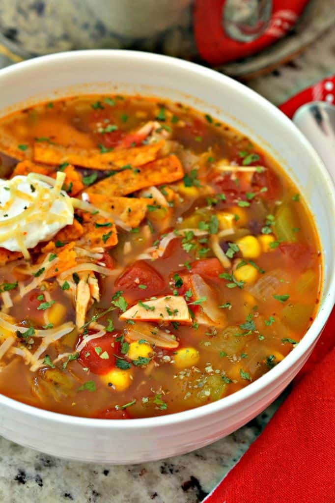 Easy Chicken Enchilada Soup is topped with seasoned tortilla strips and sour cream