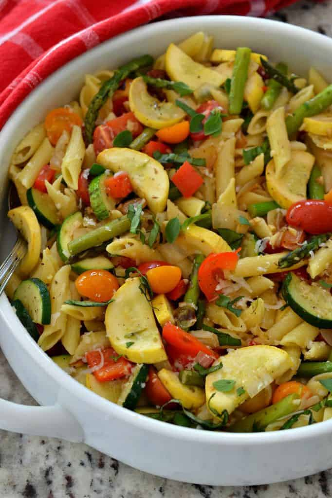 Pasta Primavera is a delicious mix of penne pasta and freshly cooked vegetables