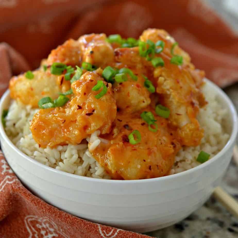 Bang Bang Shrimp is coated in a sweet, spicy chili sauce