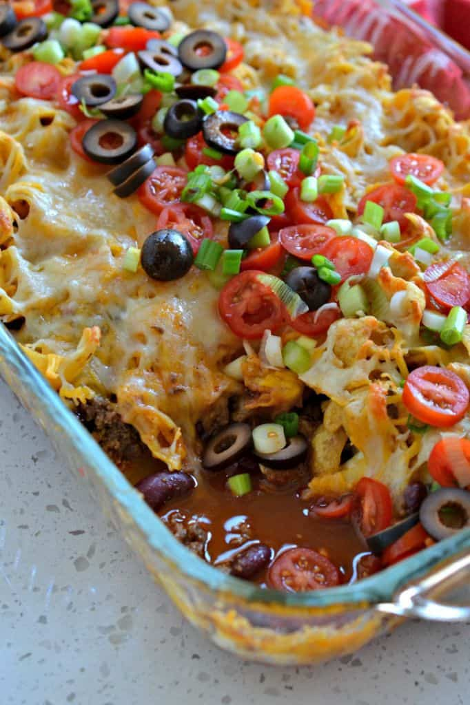 This Easy Frito Pie is a delicious weeknight casserole that's easy to toss together for taco night.
