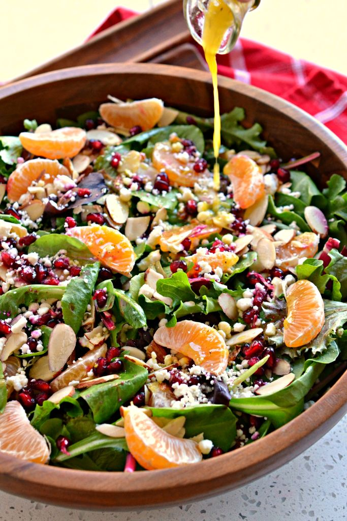 Christmas Salad is topped with a honey mustard champagne vinaigrette dressing that sparkles with flavor